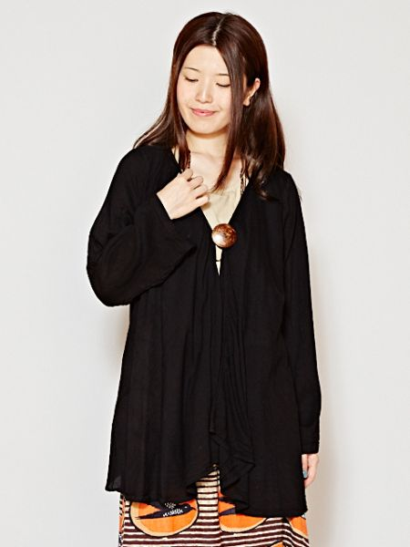 Thai Cotton Plain Cardigan-Cardigans & Outerwear-Ametsuchi