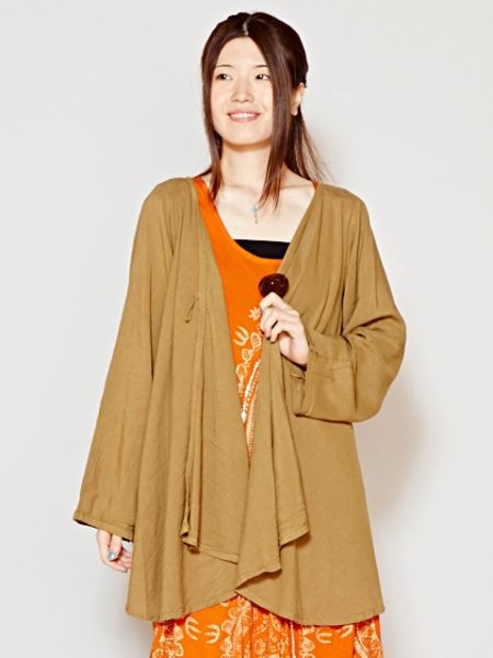 Thai Cotton Plain Cardigan-Ametsuchi