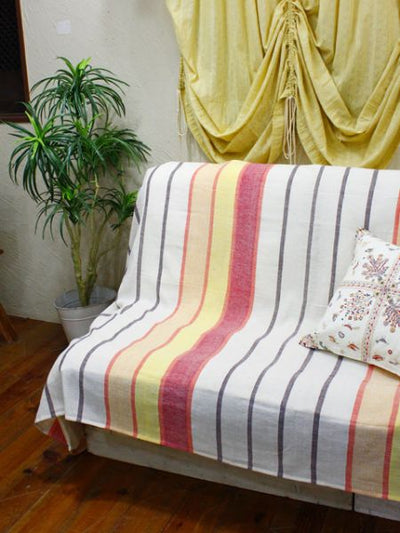 Indian Cotton Stripe Bed Cover Multi Cloth-Bed Linens-Ametsuchi