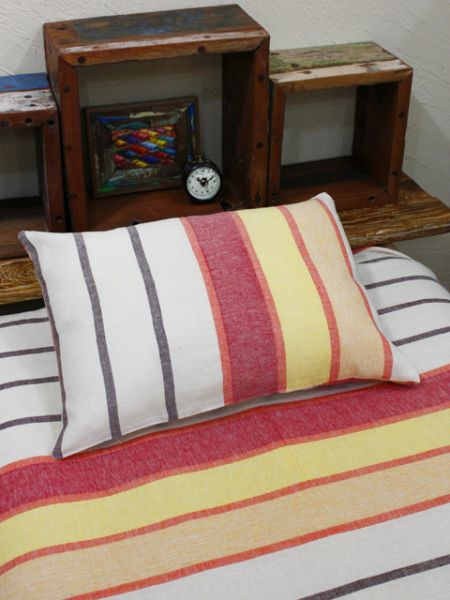 Bold Striped Woven Cotton Pillow Case-Bed Linens-Ametsuchi