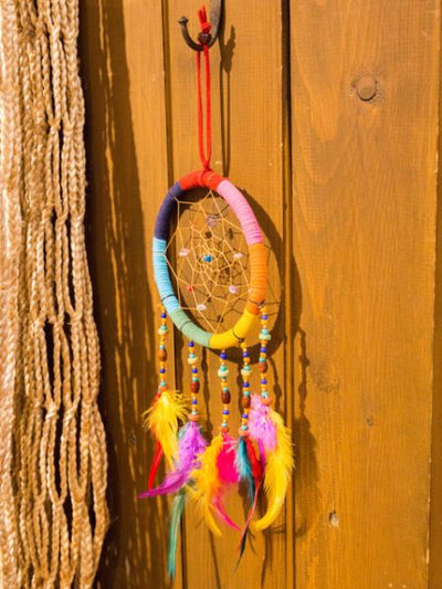 Feather Leather Dream Catcher 12cm-Home Dekor-Ametsuchi