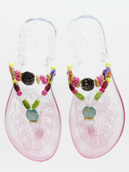 Manik-manik yang berwarna-warni Clear Sandals -Shoes-Ametsuchi