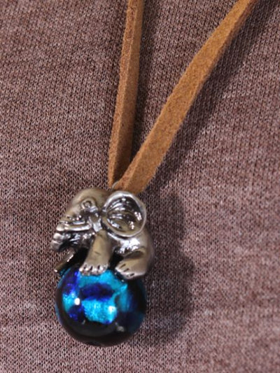 Bright Blue Firefly Ball Feng Shui Riding Animal Necklace -Necklaces-Ametsuchi