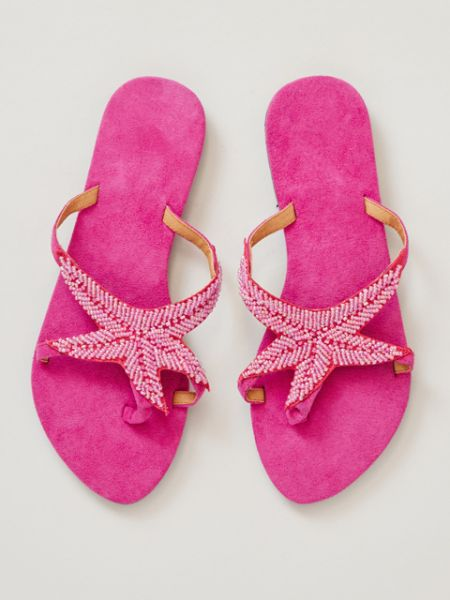 Starfish Beaded Flipflops -Shoes-Ametsuchi