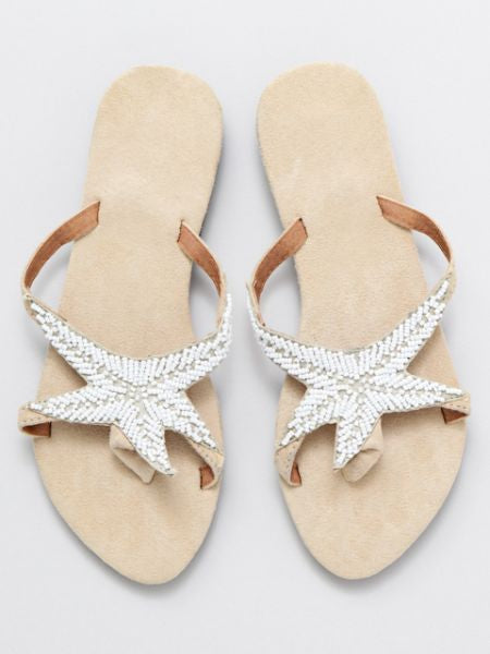 Starfish Beaded Flipflops-Ametsuchi