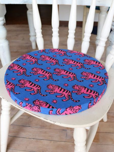 African Fabric Inspired Animal Round Cushion-Cushion Covers-Ametsuchi