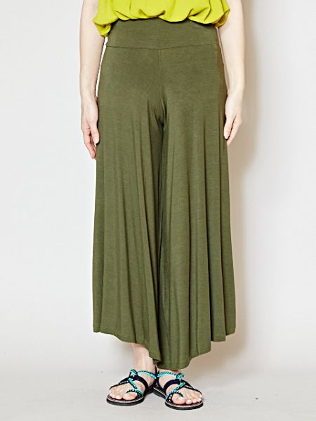 Rayon Tuckless Cropped Wide Leg Pants-Ametsuchi