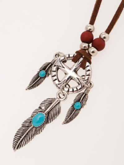 Metal Feather Necklace-Necklaces-Ametsuchi