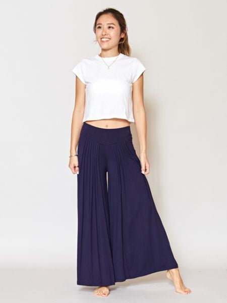 Tuck Flare Wide Pants-Pants & Shorts-Ametsuchi
