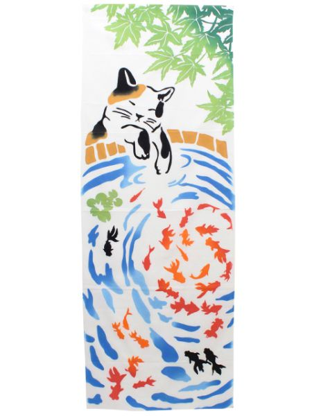 Cat x Goldfish TENUGUI Towel-Home Accessories-Ametsuchi