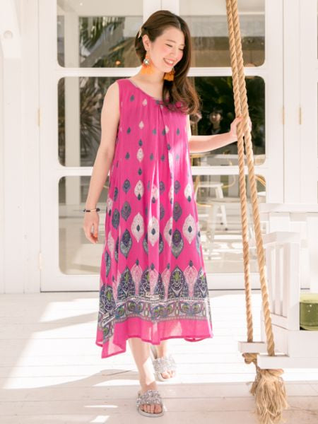 African Fabric Pattern Midi Dress-Dresses-Ametsuchi