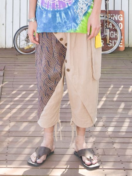 컬러 블록 Men's Harem Pants-Ametsuchi