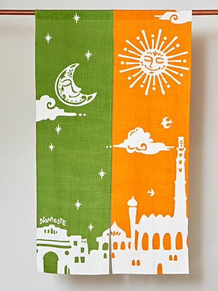 Bi-color Namaste NOREN Door Curtain-Ametsuchi