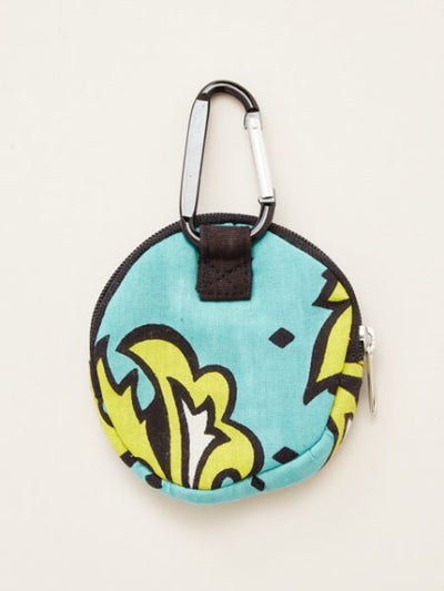 Kanga Pattern Round Pouch wth Carabiner Clip
