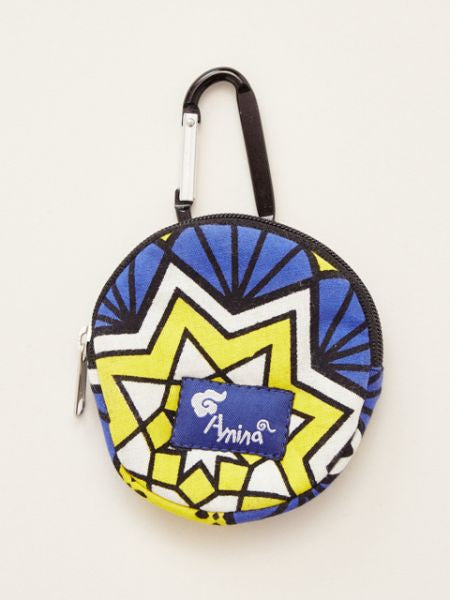 Kanga Pattern Round Pouch wth Carabiner Clip-Ametsuchi