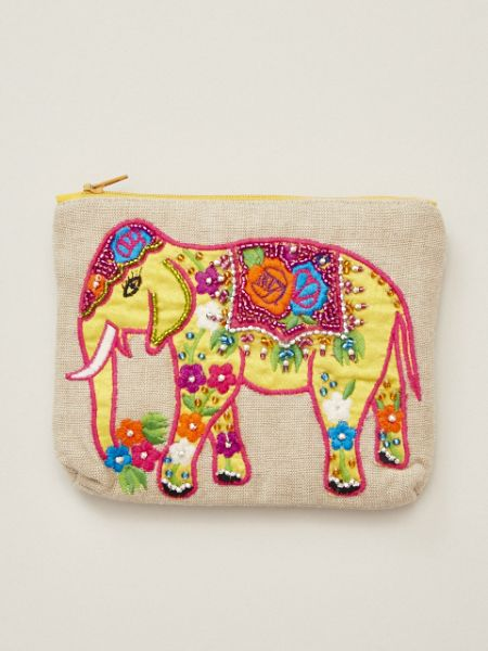 Embroidered Floral Elephant Pouch