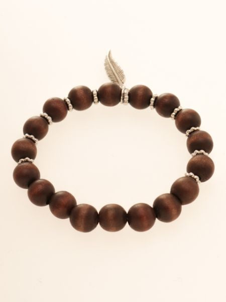 Wooden Beads & Feather Bracelet