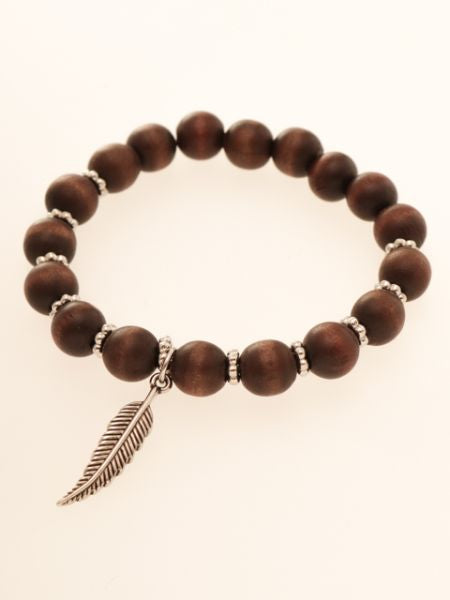 Wooden Beads & Feather Bracelet-Ametsuchi