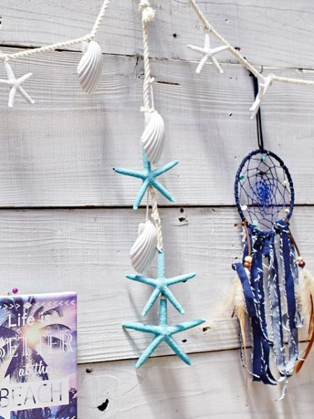 Starfish & Shell Wall Hanging Ornament-Home Decor-Ametsuchi