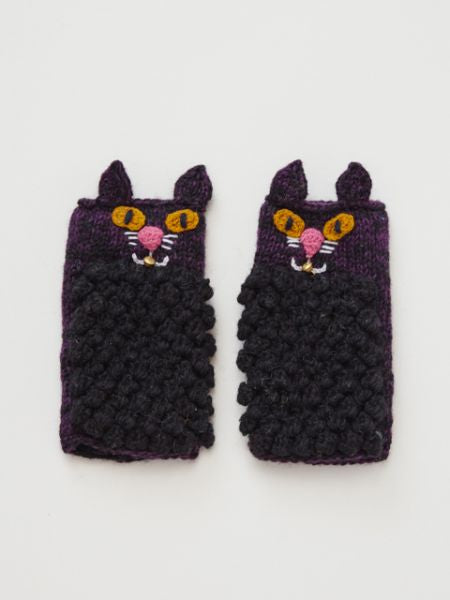 Hand Knitted Cat Half Gloves