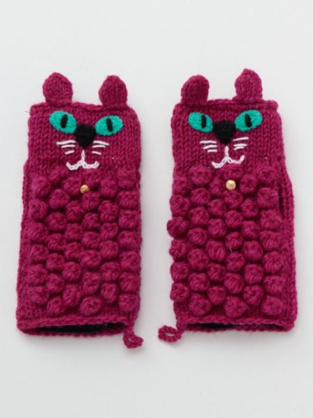 Hand Knitted Cat Half Gloves-Ametsuchi