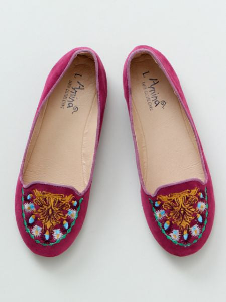 Folklore Embroidery Flat Pumps -Shoes-Ametsuchi