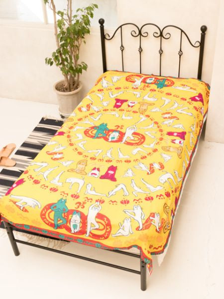 Yoga Cat Bed Cover-Ropa de cama-Ametsuchi