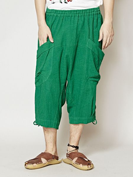 Plain Heavy Oz Cotton Harem Shorts-Pants & Shorts-Ametsuchi