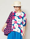 Floral Pattern Top with High Low Hem-Shirts & Blouses-Ametsuchi