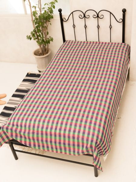 Block Check Weave Bedspread Single Size-Bed Linens-Ametsuchi