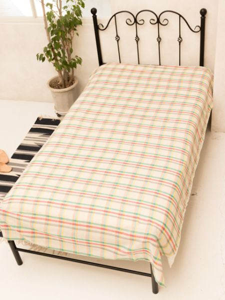 Madras Check Weave Bedspread Single Size -Bed Linens-Ametsuchi
