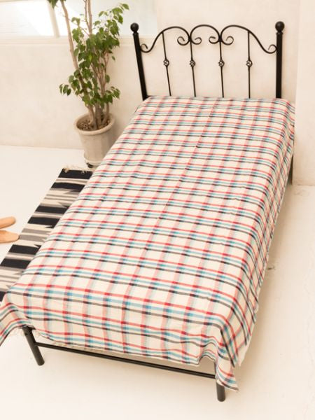 Madras Check Weave Tagesdecke Single Size -Bettwäsche-Ametsuchi