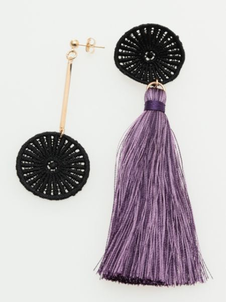 Lace Tassel Asymmetrical Errings