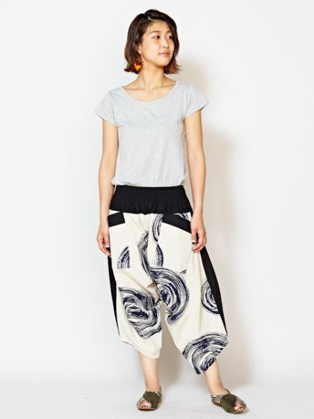 Modern Japanese Pattern Bottom Up Harem Pants-Pants & Shorts-Ametsuchi