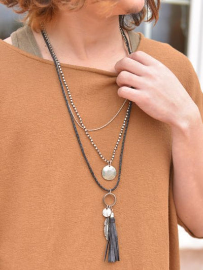 フェザー&フリンジ3連MEN'S Necklace-Necklaces-Ametsuchi