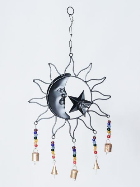 Sun & Moon Metal Wall Hanging Bell
