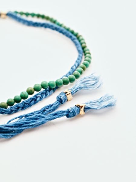 INDIGO Dye Hemp Cotton Strings Anklet-Anklets-Ametsuchi