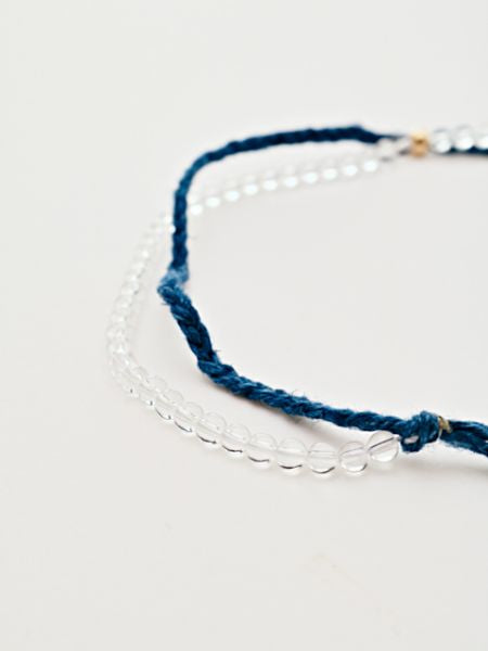 INDIGO Dye Hemp Cotton Strings Anklet-Ametsuchi
