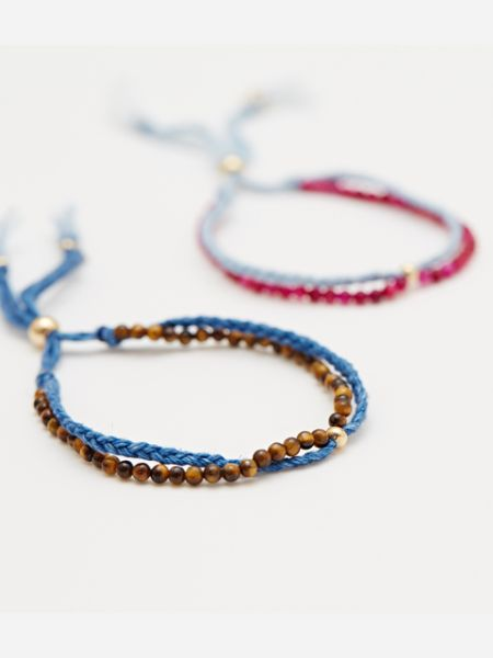 INDIGO Dye Hemp Cotton Strings Bracelet-Ametsuchi