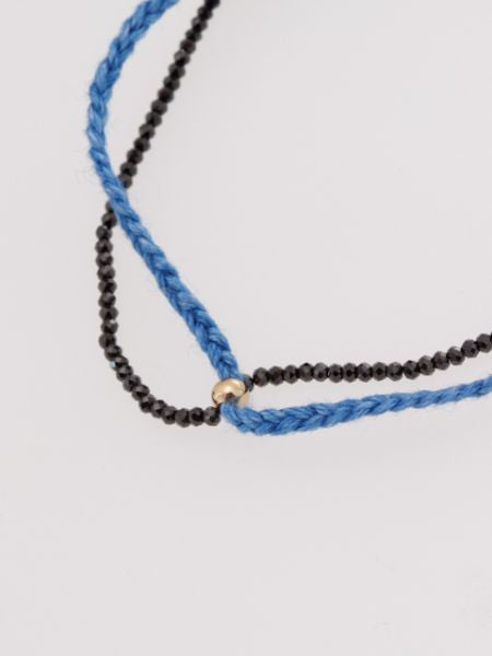 Indigo Dyed Braid Anklet - Black Spinel