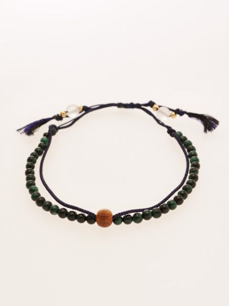Silk String KUMIHIMO Braid Bracelet Green Tiger Eye φ4-Bangles & Bracelet-Ametsuchi