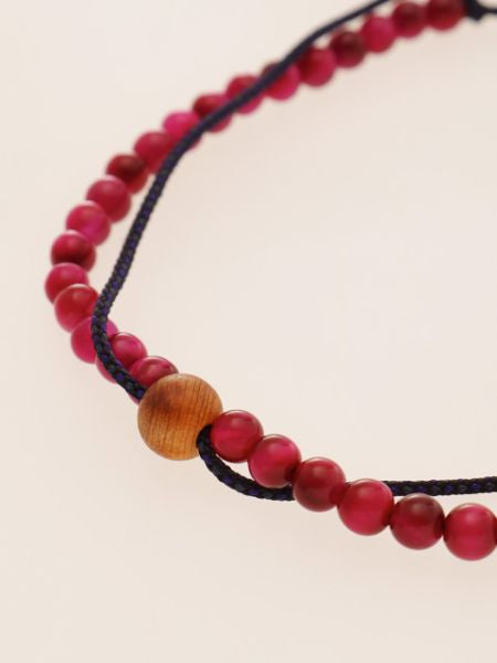 Seidenschnur KUMIHIMO Braid Bracelet Rose Tiger Eye φ4-Bangles & Bracelets-Ametsuchi