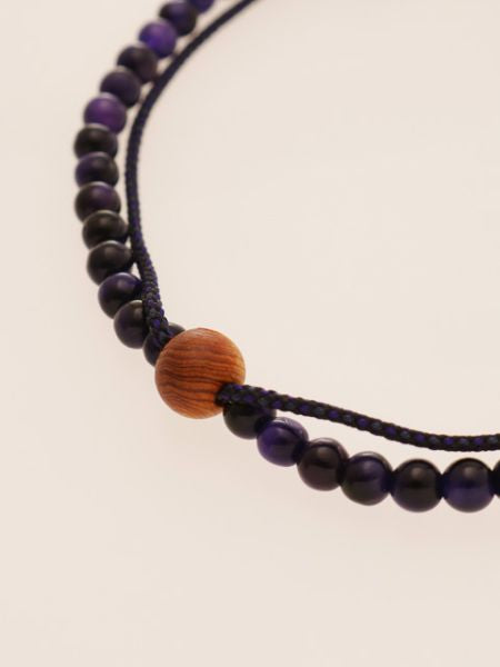 Silk String KUMIHIMO Braid Bracelet Purple Tiger Eye φ4-Brazaletes y Pulseras-Ametsuchi