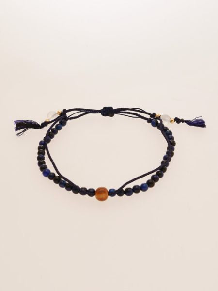 Silk String KUMIHIMO Braid Bracelet Lapis Tiger Eye φ4-Brazaletes y Pulseras-Ametsuchi