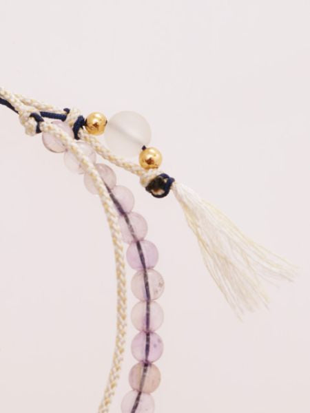 Production Stone Silk Anklet February Lavender Amethyst -Anklets-Ametsuchi