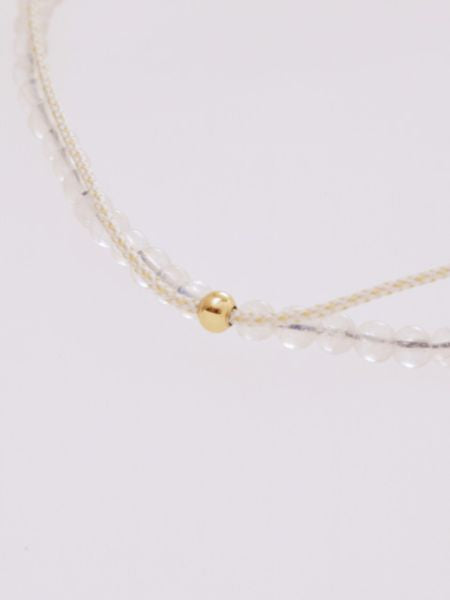 Production Stone Silk Anklet June Moonstone -Anklets-Ametsuchi