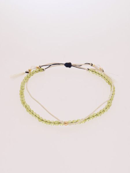 Produce Stone Silk String Anklet August Peridot -Anklets-Ametsuchi