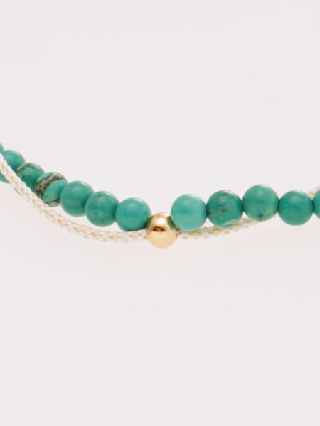 Produce Stone Silk String Anklet December Turquoise -Anklets-Ametsuchi
