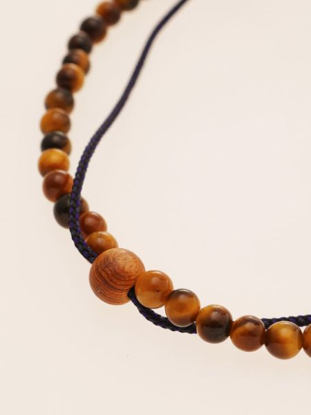 Silk Code Braided Anklet with Tiger Eye-Anklets-Ametsuchi