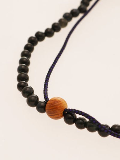 Silk Code Braided Anklet with Blue Tiger Eye-Anklets-Ametsuchi